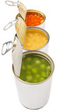 Vita bönor i tomatsås gröna ärtor, majs VI Arkivbild
