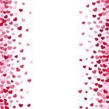 Vita backgrouns för älskvärd romansk valentin med rosa och röda hjärtagränser royaltyfri illustrationer