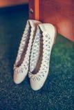 Vita balettskor Royaltyfri Fotografi