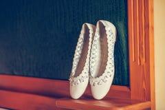 Vita balettskor Fotografering för Bildbyråer