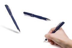 vita blåa pennor Arkivbild