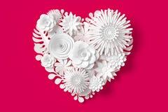 Vita blommor är hjärtaform, på rosa röd bakgrund, tolkningen 3d, med den snabba banan royaltyfri illustrationer