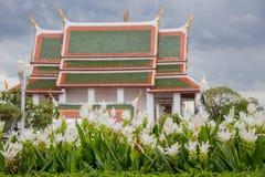 Vita blommor planterades framme av templet Royaltyfria Foton