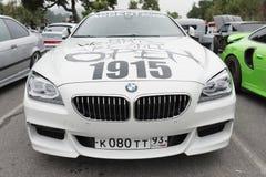 Vita BMW på detaljen Royaltyfria Foton