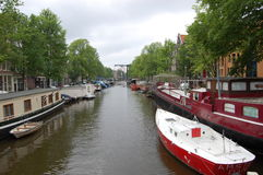 Vita del canale, Amsterdam, Olanda Immagini Stock