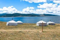 Vita del nomade del mongolian sulla savanna fotografia stock