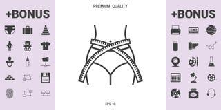 Vita delle donne con nastro adesivo di misurazione, la perdita di peso, la dieta, giro vita - allini l'icona Fotografia Stock Libera da Diritti