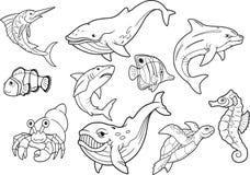 Vita di mare, insieme delle immagini del fumetto Fotografia Stock