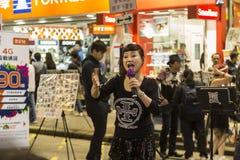 Vita di notte ad area di Mong Kok in Hong Kong Fotografia Stock Libera da Diritti