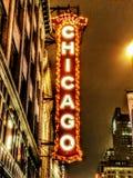 Vita di notte del teatro di Chicago Immagini Stock Libere da Diritti