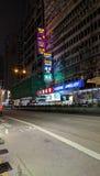 Vita di notte di Nathan Road in Mongkok fotografia stock libera da diritti