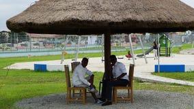 Vita di notte in Uyo, Nigeria fotografia stock