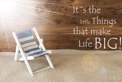 Vita di piccole cose di Sunny Greeting Card And Quote di estate grande Fotografie Stock