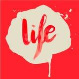 Vita di rosso dell'acquerello dell'iscrizione Immagini Stock