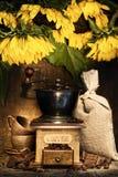 Vita di Stiill con la smerigliatrice di caffè antica Immagine Stock