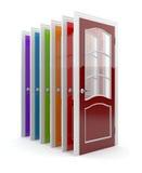 vita färgrika dörrar 3d Royaltyfri Fotografi
