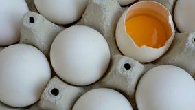 Vita fega ägg är nya, staplat i ekologiskt förpacka för papp lager videofilmer