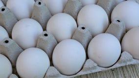 Vita fega ägg är nya, staplat i ekologiskt förpacka för papp arkivfilmer