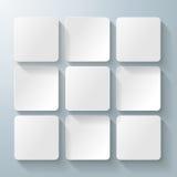 9 vita fyrkanter Desig royaltyfri illustrationer