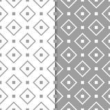 Vita geometriska prydnader för grå färger och mönsan den seamless seten Arkivbilder