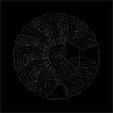 Vita geometriska upprepande optiska former för abstrakt vektor på svart bakgrund Royaltyfri Bild