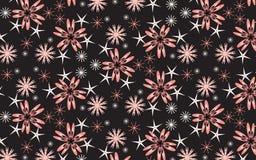 Vita glänsande snöflingor för rosa färger och över svart bakgrund Royaltyfri Bild