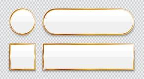 Vita glansiga knappar med den guld- beståndsdeluppsättningen som isoleras på genomskinlig bakgrund vektor illustrationer
