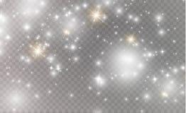 Vita gnistor och guld- stjärnor blänker special ljus effekt Vektorn mousserar på genomskinlig bakgrund Jul vektor illustrationer