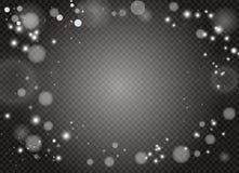 Vita gnistor och guld- stjärnor blänker special ljus effekt Vektorn mousserar på genomskinlig bakgrund Jul stock illustrationer