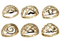 vita guld- isolerade cirklar Arkivfoto