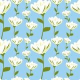 Vita härliga blommor på illustration för modell för bakgrund för blå himmel sömlös royaltyfri illustrationer