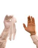 vita handskar Arkivfoton