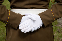 vita handskar Fotografering för Bildbyråer