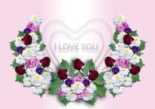 Vita hjärtor med en krans av blommor på en rosa bakgrund Arkivfoto