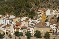 Vita hus för villa, typisk spanjor, Villafamés lantlig villa in Royaltyfri Foto