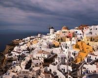 Vita Huset av den Oia byn, Santorini, Grekland Arkivfoto