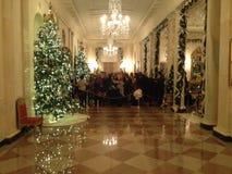 Vita Huset huvudsakliga Hall Decorated för jul Royaltyfri Bild