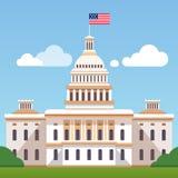 Vita Husetbyggnad med USA-flaggan på en blå himmel royaltyfri illustrationer