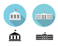Vita hussymboler i lägenhet och kontur utformar Arkivbilder