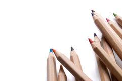 vita isolerade blyertspennor Royaltyfri Bild