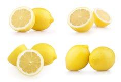 vita isolerade citroner som ställs in Royaltyfri Fotografi