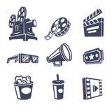 vita isolerade filmer för bio som symboler ställs in stock illustrationer