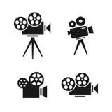 vita isolerade filmer för bio som symboler ställs in Royaltyfri Bild