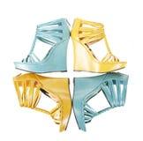 vita isolerade moderiktiga wedges för sandals Royaltyfri Bild