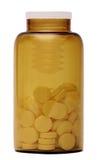 vita isolerade pills för bakgrund flaska Royaltyfri Foto