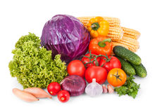 vita isolerade set grönsaker Royaltyfri Foto
