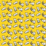 Vita katter på utdragen sömlös modell för gul stilsortshand stock illustrationer