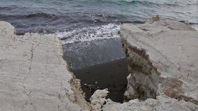 Vita klippor och blått hav driva som fiskar medelhavs- netto havstonfisk Cypern kust stock video