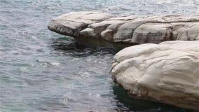Vita klippor och blått hav driva som fiskar medelhavs- netto havstonfisk Cypern kust arkivfilmer