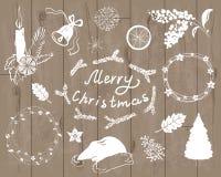 Vita konturer för jul in stock illustrationer